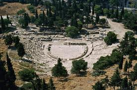 Where was the orchestra in the 5th century Greek theatre?