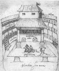 A drawing of a drawing of the Globe Theatre from the Renaissance