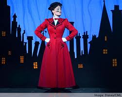 Mary Poppins on stage.