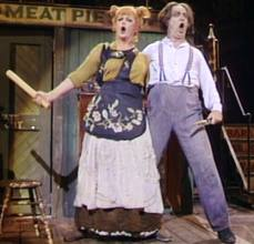 Angela Lansbury and George Hearn in Sweeney Todd on Broadway.