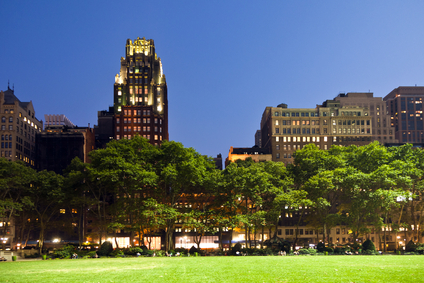 Bryant Park in New York at night