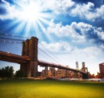 The Brooklyn Bridge as seen from Brooklyn Bridge Park, New York