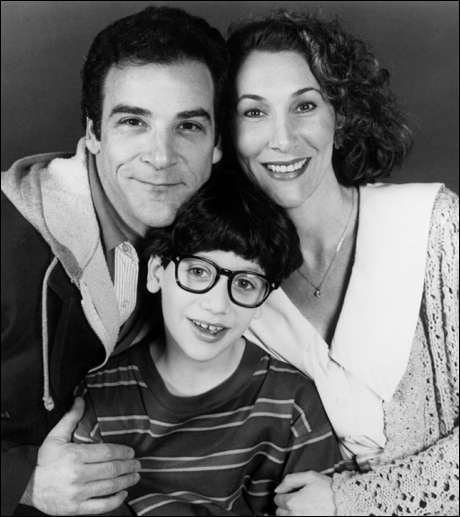 (l-r) Mandy Patinkin, Sivan Cotel and Randy Graff in a scene from William Finn and James Lapine's Tony Award-winning musical Falsettos, now in its second smash year at the Golden Theatre, 252 West 45th St. The show, which received two 1992 Tony Awards for Best Book and Best Score (Music and Lyrics) now stars Mandy Patinkin, Sean McDermott, Randy Graff and Chip Zien. Photo: Carol Rosegg/Martha Swope Associates Contact: The Pete Sanders Group (212) 730-0067