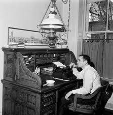"""Edward Albee at work"""