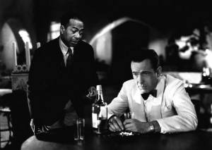 The characters Sam and Rick in Casablanca