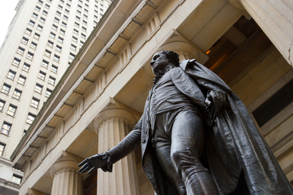 George Washington at the Federal Hall on Wall St., NY