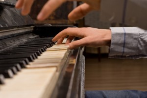 Concert pianist playing the piano