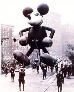 Mickey Mouse debuts in Macys' Thanksgiving Day Parade in 1934.