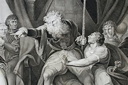 A raging King Lear railing against one of his daughters.